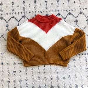 Forever 21 Chevron Retro Colorblock Sweater